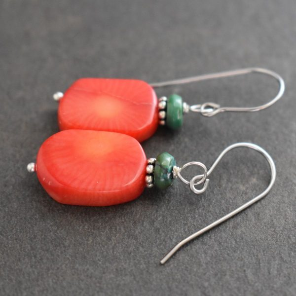 Turquoise and  Bamboo coral rectangle earrings