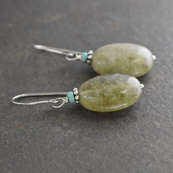 Turquoise & Green Garnet Earrings
