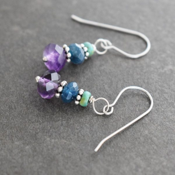 Turquoise, Sapphire and Amethyst Earrings