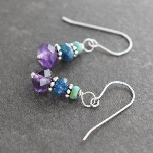 Turquoise, Sapphire & Amethyst Earrings