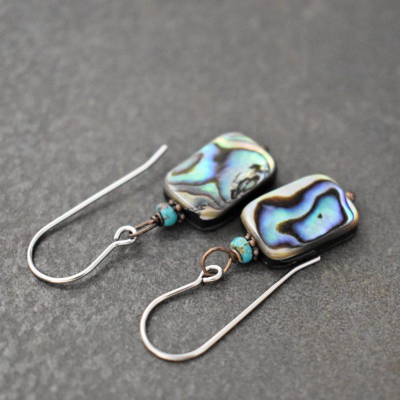 Turquoise, abalone shell earrings