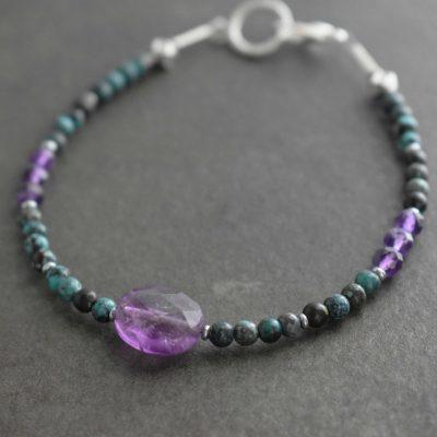 Turquoise and amethyst gemstone bracelet
