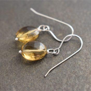 whisky quartz earrings