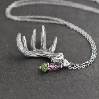 silver deer antler with purple & pink and turquoise gemstones