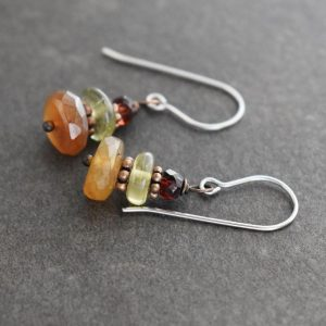 dark maroon, green and brown gemstone earrings