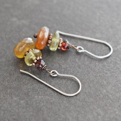 Garnet & Chalcedony Earrings