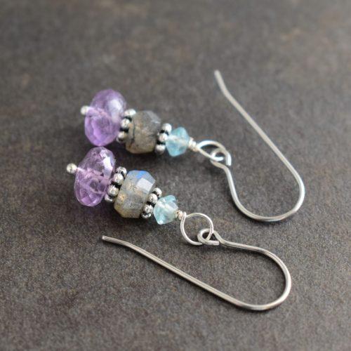 apatite , Labradorite and  amethyst earrings