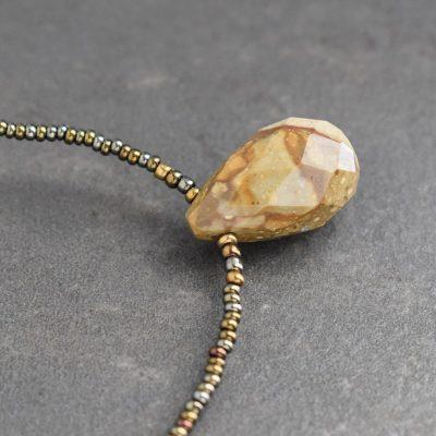 Beaded Picture Jasper Drop Necklace