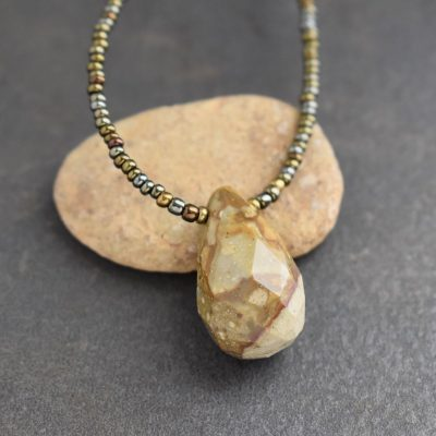 beaded brown and olive green tiny beads with a brown jasper drop pendant