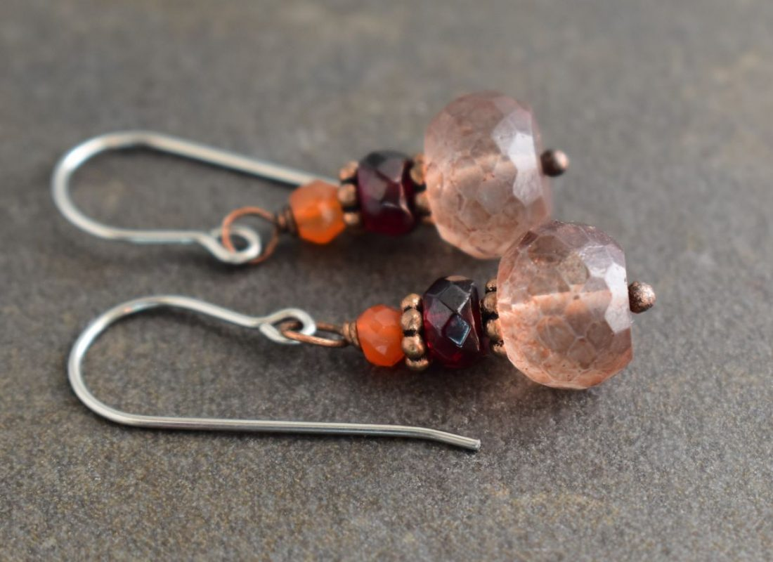 brown quartz gemstone earrings