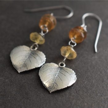 Sterling Silver Aspen Leaf Earrings