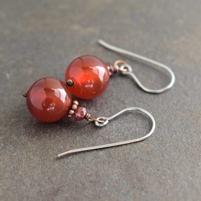 garnet and dark carnelian earrings