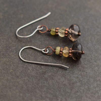 grossalar garnet,citrine, smoky quartz earrings (2)