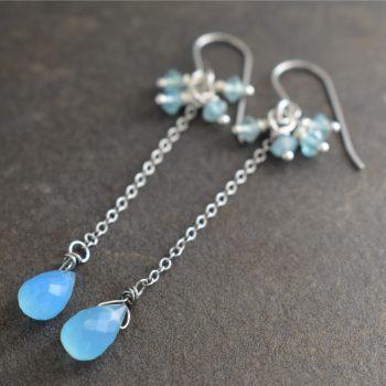 Blue Apatite Chalcedony Earrings