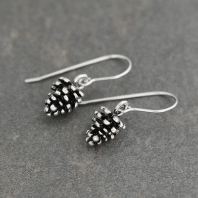 dainty pine cone earrings