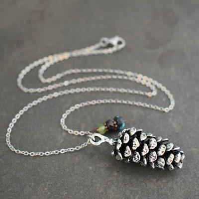 silver Pine cone Necklace