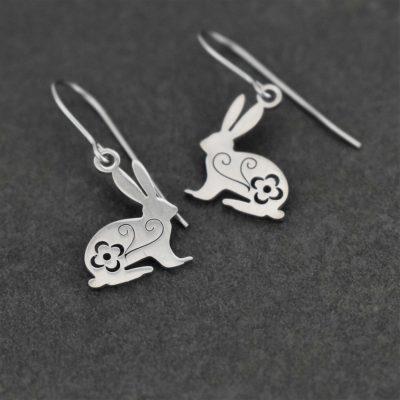 Small silver rabbit earrings