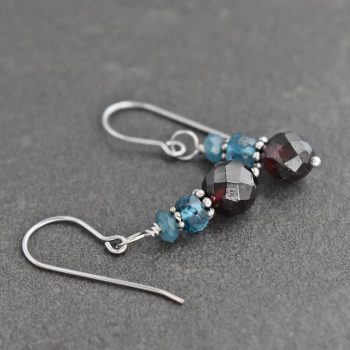 Teal Jade, Blue Topaz & Garnet Earrings