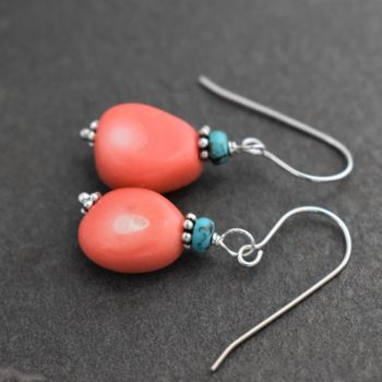 turquoise, pink coral chunk earrings