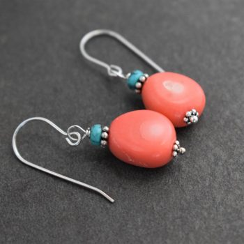 Turquoise & Pink Coral Earrings