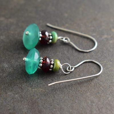 turquoise,garnet,green onyx earrings
